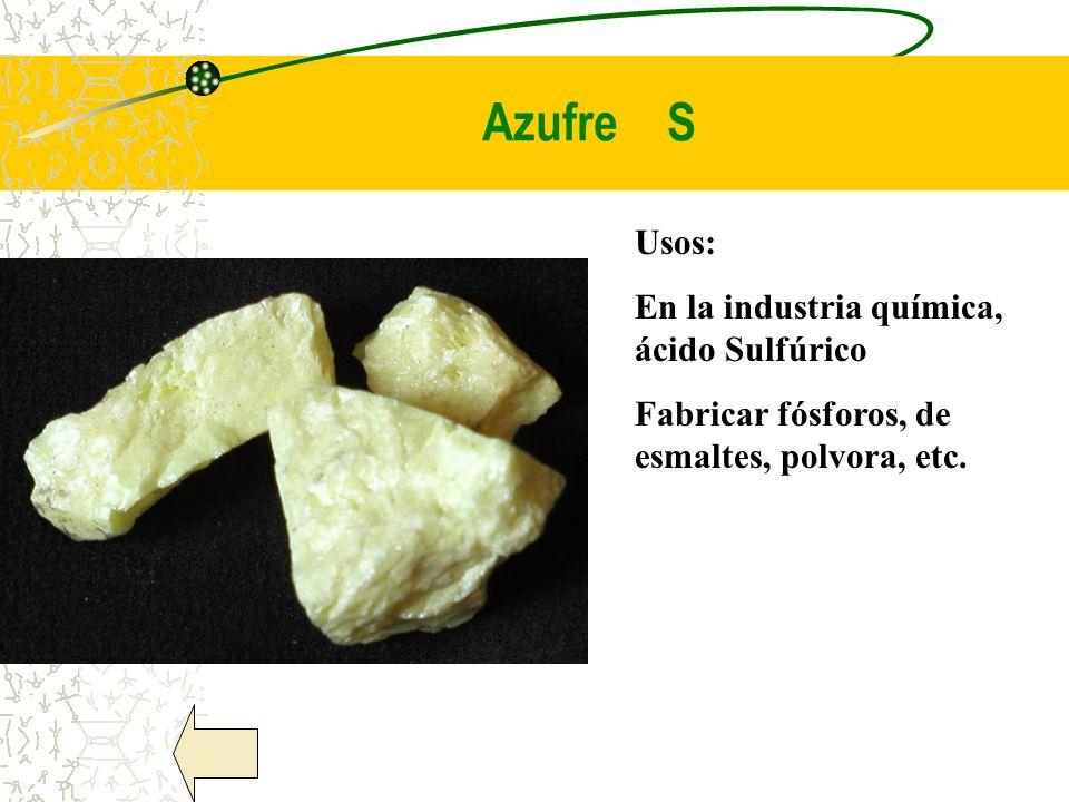 Azufre S Usos: En la industria química, ácido Sulfúrico Fabricar fósforos, de esmaltes, polvora, etc.