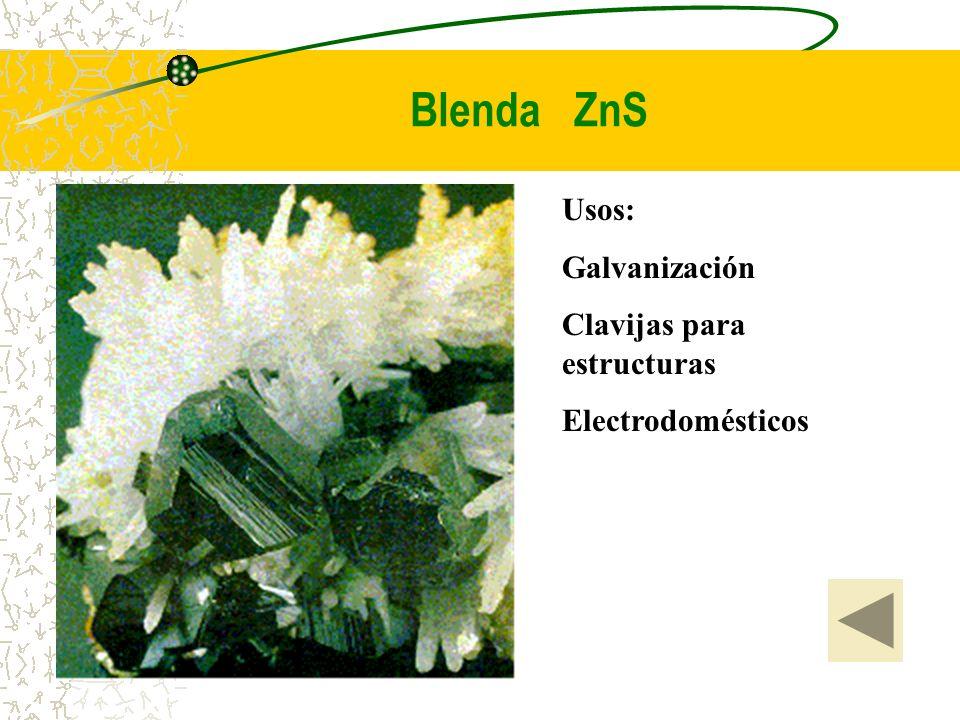 Blenda ZnS Usos: Galvanización Clavijas para estructuras Electrodomésticos