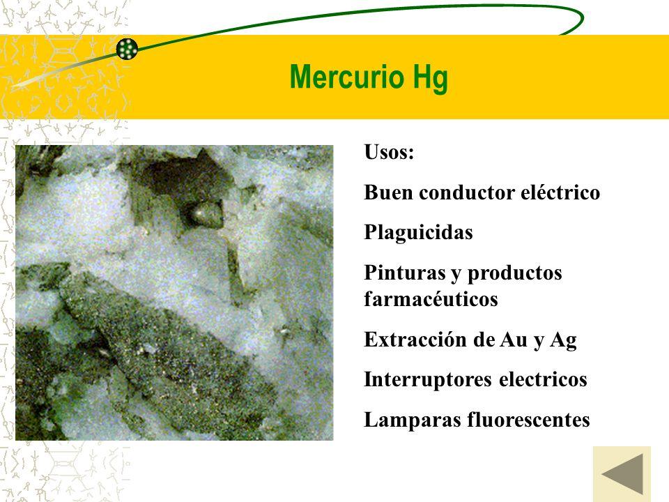 Mercurio Hg Usos: Buen conductor eléctrico Plaguicidas Pinturas y productos farmacéuticos Extracción de Au y Ag Interruptores electricos Lamparas fluo