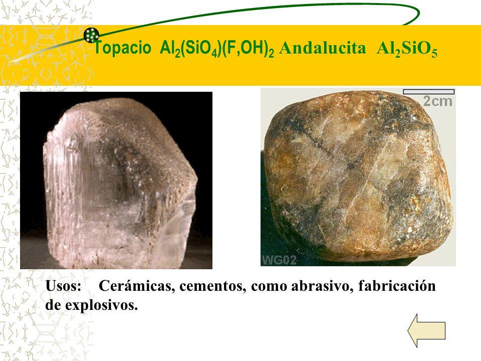 Topacio Al 2 (SiO 4 )(F,OH) 2 Andalucita Al 2 SiO 5 Usos: Cerámicas, cementos, como abrasivo, fabricación de explosivos.