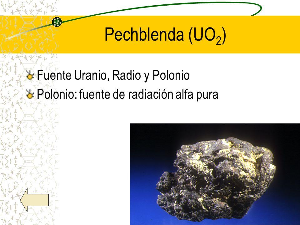 Pechblenda (UO 2 ) Fuente Uranio, Radio y Polonio Polonio: fuente de radiación alfa pura