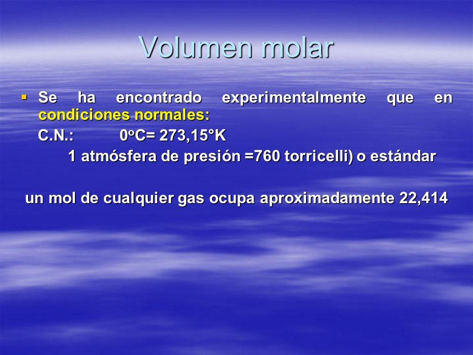 Volumen molar Se ha encontrado experimentalmente que en condiciones normales: Se ha encontrado experimentalmente que en condiciones normales: C.N.: 0
