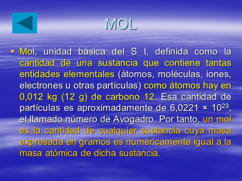 MOL Mol, unidad básica del S I, definida como la cantidad de una sustancia que contiene tantas entidades elementales (átomos, moléculas, iones, electr