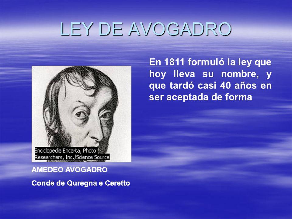 LEY DE AVOGADRO AMEDEO AVOGADRO Conde de Quregna e Ceretto En 1811 formuló la ley que hoy lleva su nombre, y que tardó casi 40 años en ser aceptada de