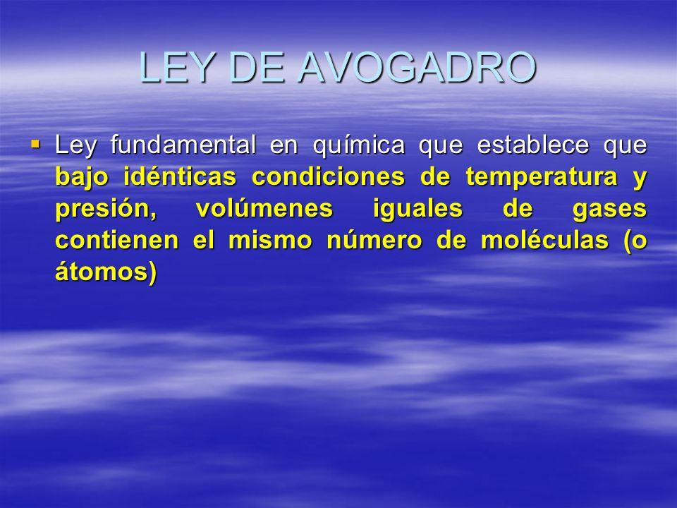 LEY DE AVOGADRO Ley fundamental en química que establece que bajo idénticas condiciones de temperatura y presión, volúmenes iguales de gases contienen