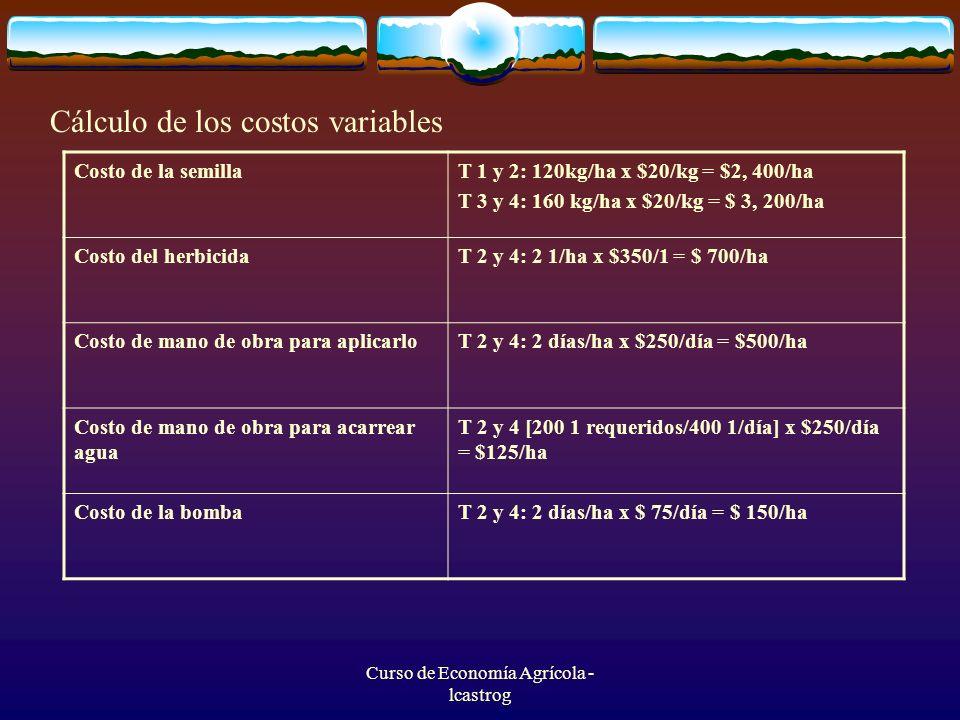 Curso de Economía Agrícola - lcastrog Cálculo de los costos variables Costo de la semillaT 1 y 2: 120kg/ha x $20/kg = $2, 400/ha T 3 y 4: 160 kg/ha x