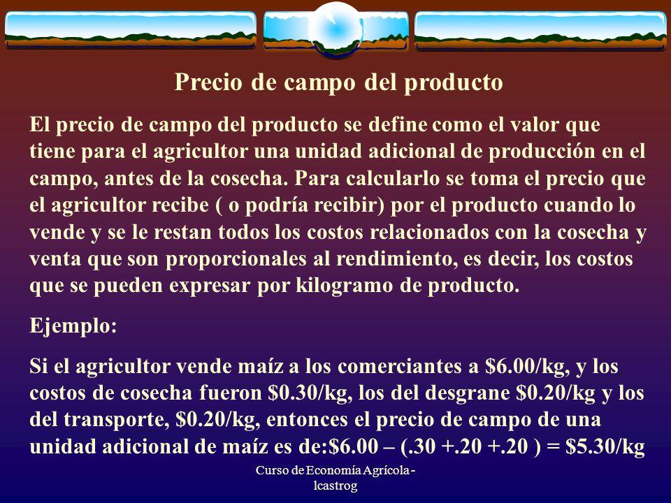 Curso de Economía Agrícola - lcastrog Precio de campo del producto El precio de campo del producto se define como el valor que tiene para el agriculto