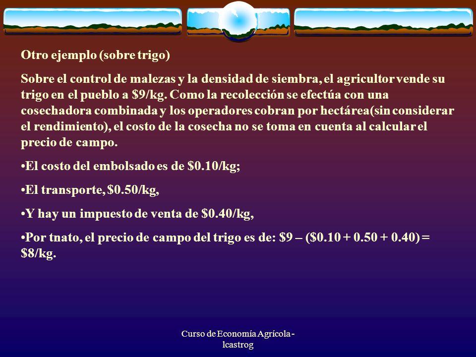Curso de Economía Agrícola - lcastrog Otro ejemplo (sobre trigo) Sobre el control de malezas y la densidad de siembra, el agricultor vende su trigo en
