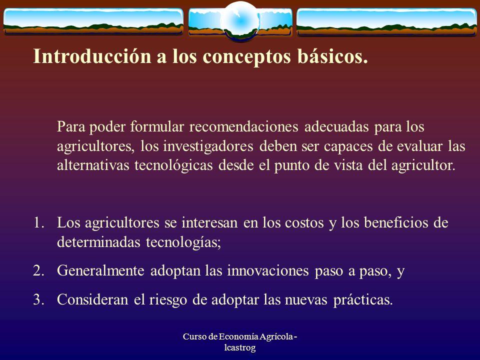 Curso de Economía Agrícola - lcastrog Análisis marginal de un ensayo sobre el control de maleza y la densidad de siembra TratamientoCVT ($/ha)CMg ($/ha)BN ($/ha)BNMg ($/ha) TRMg 12 40010 360 23 8751 47511 7651 40595 % 23 87511 765 44 67580011 96520025 %