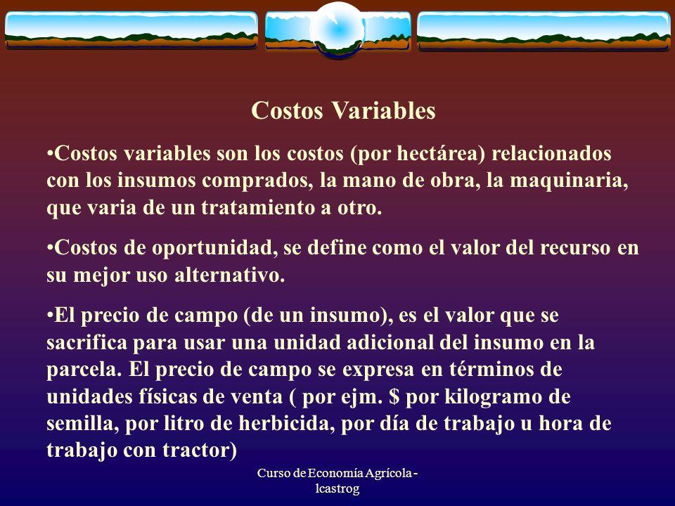 Curso de Economía Agrícola - lcastrog Costos Variables Costos variables son los costos (por hectárea) relacionados con los insumos comprados, la mano