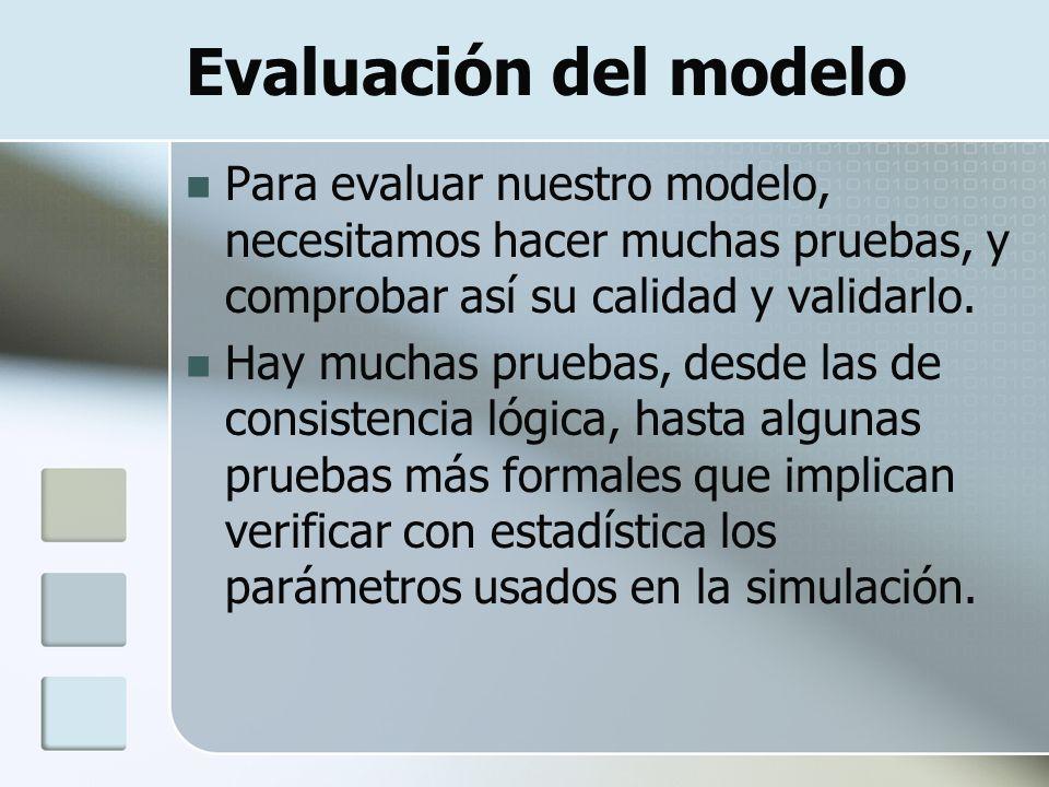 Evaluación del modelo Para evaluar nuestro modelo, necesitamos hacer muchas pruebas, y comprobar así su calidad y validarlo. Hay muchas pruebas, desde
