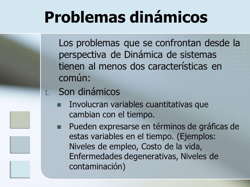 Problemas dinámicos Los problemas que se confrontan desde la perspectiva de Dinámica de sistemas tienen al menos dos características en común: 1. Son
