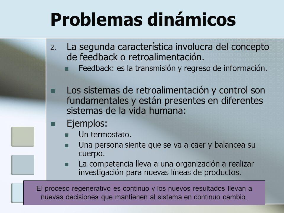 Problemas dinámicos 2. La segunda característica involucra del concepto de feedback o retroalimentación. Feedback: es la transmisión y regreso de info
