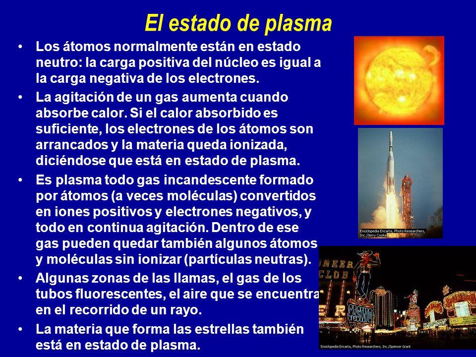 El estado de plasma Los átomos normalmente están en estado neutro: la carga positiva del núcleo es igual a la carga negativa de los electrones. La agi