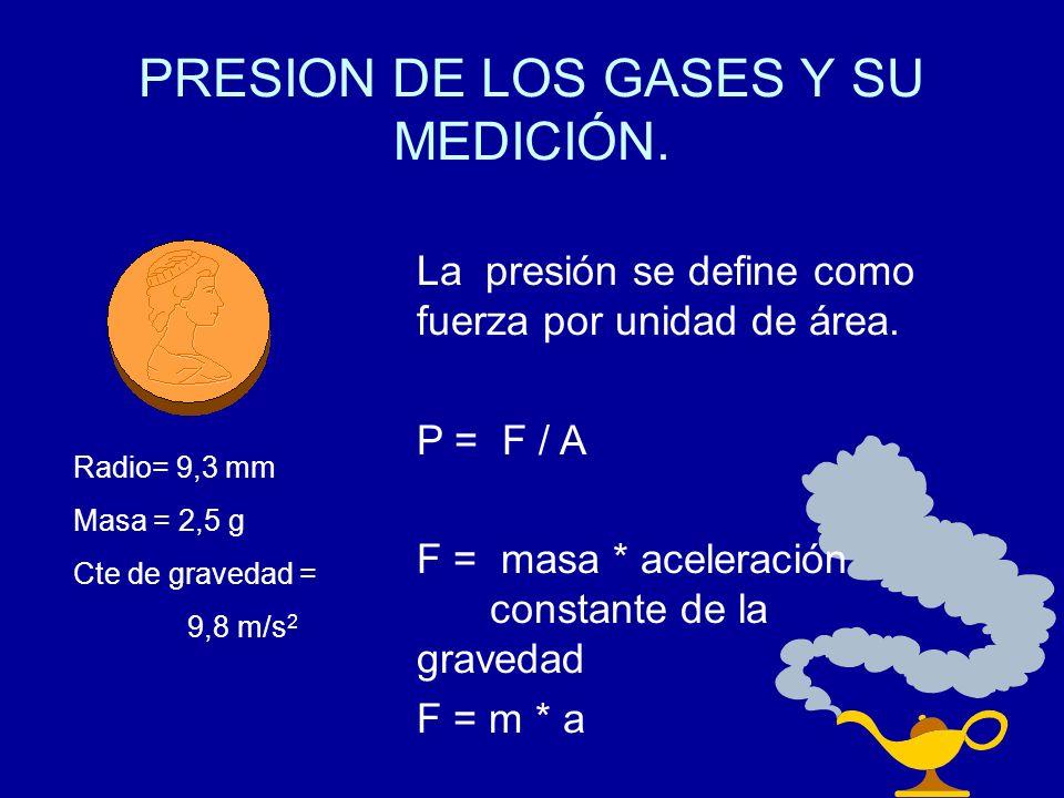 PRESION DE LOS GASES Y SU MEDICIÓN. La presión se define como fuerza por unidad de área. P = F / A F = masa * aceleración constante de la gravedad F =