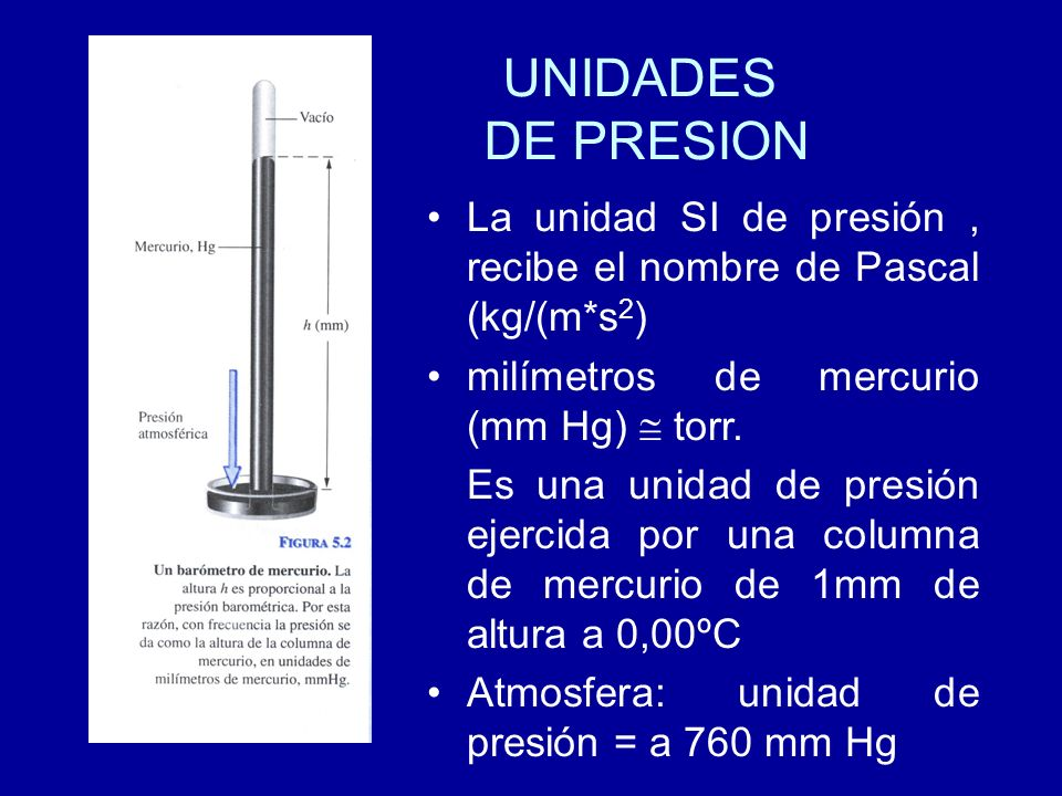 UNIDADES DE PRESION La unidad SI de presión, recibe el nombre de Pascal (kg/(m*s 2 ) milímetros de mercurio (mm Hg) torr. Es una unidad de presión eje