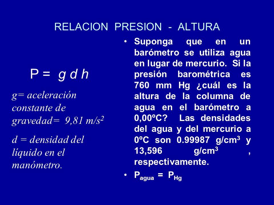 RELACION PRESION - ALTURA Suponga que en un barómetro se utiliza agua en lugar de mercurio. Si la presión barométrica es 760 mm Hg ¿cuál es la altura