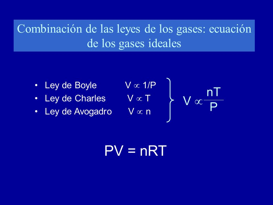 Combinación de las leyes de los gases: ecuación de los gases ideales Ley de Boyle V 1/P Ley de Charles V T Ley de Avogadro V n PV = nRT V nT P