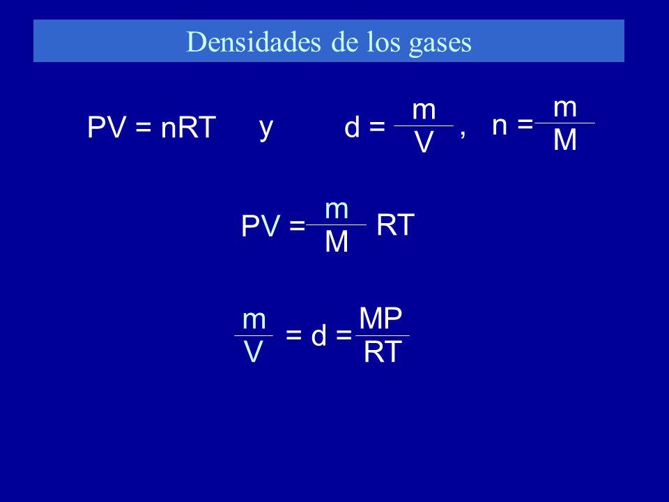 Densidades de los gases PV = nRT y d = m V PV = m M RT MP RTV m = d =, n = m M