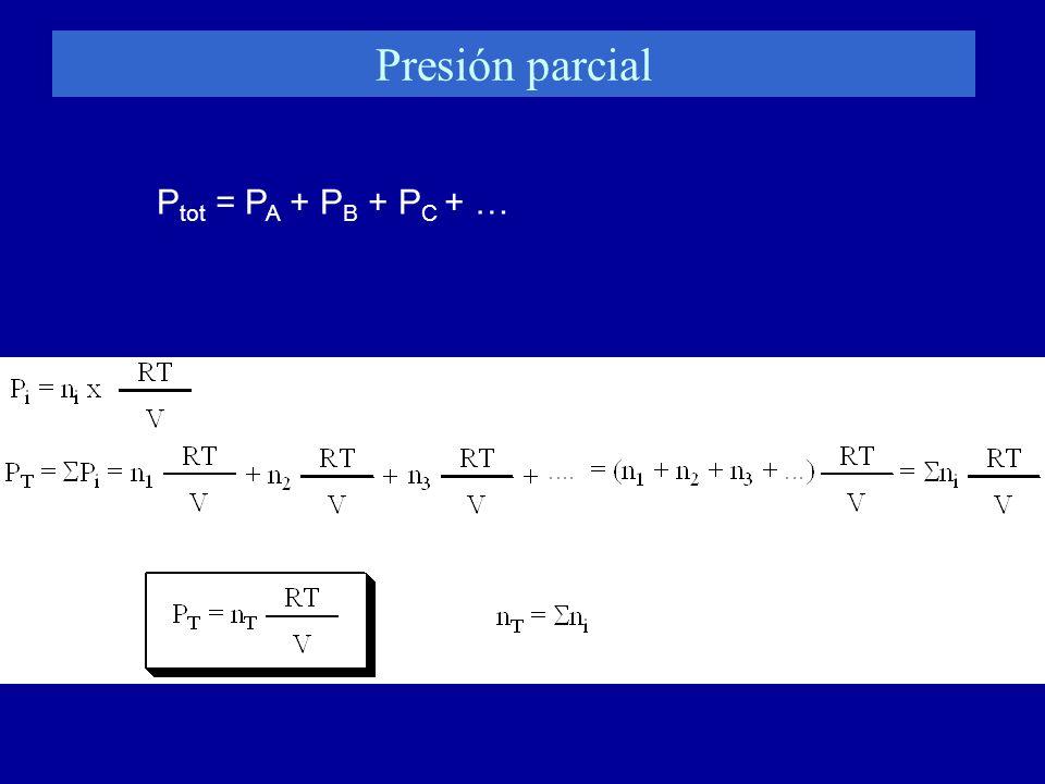 Presión parcial P tot = P A + P B + P C + …