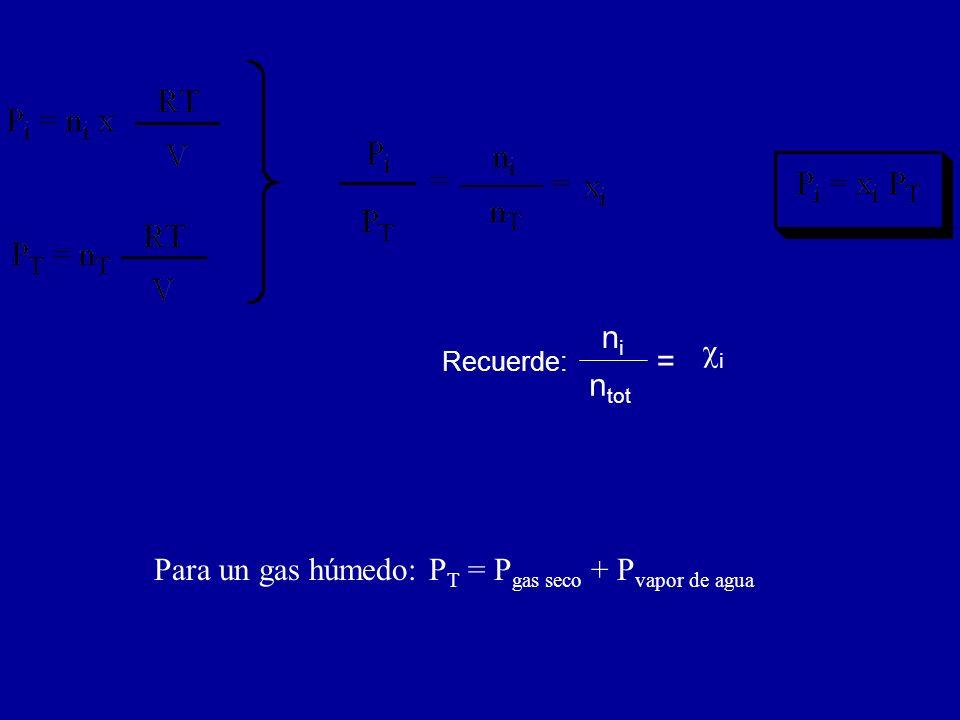 nini n tot = i Recuerde: Para un gas húmedo: P T = P gas seco + P vapor de agua