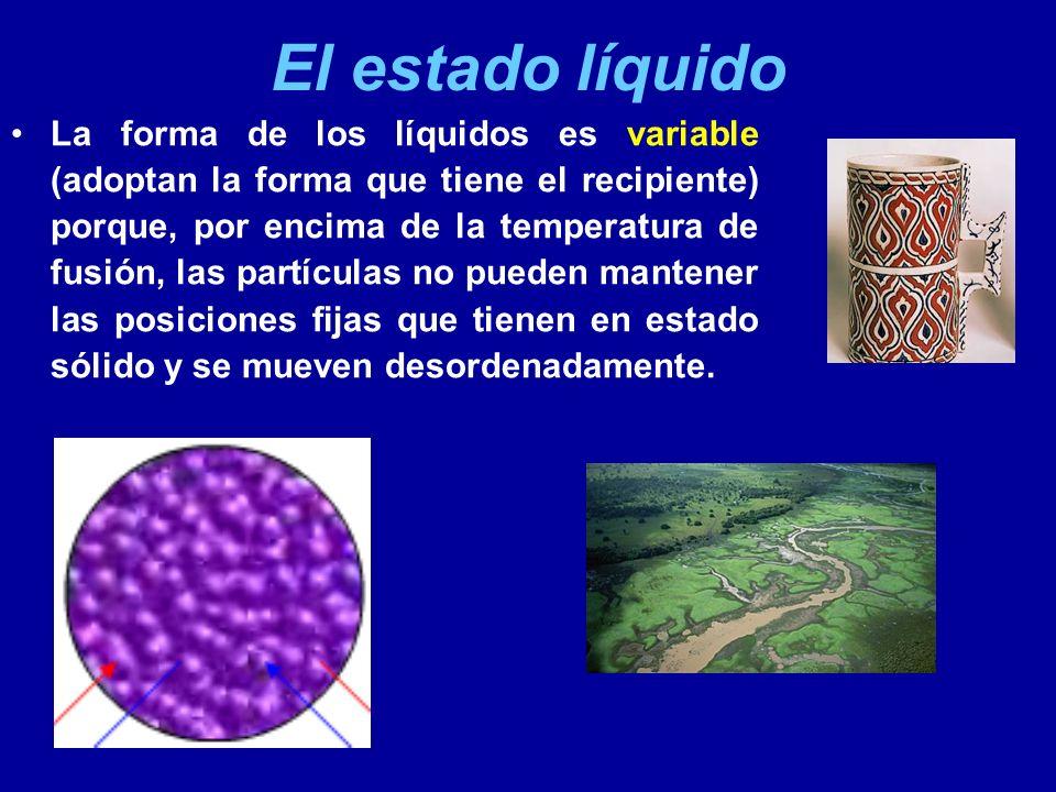 El estado líquido Sin el efecto de la gravedad, la forma natural de los líquidos es la esférica (la gota).