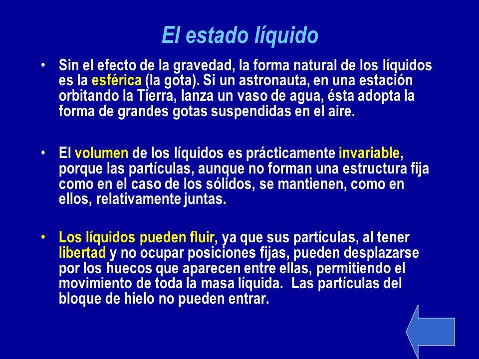 El estado líquido Sin el efecto de la gravedad, la forma natural de los líquidos es la esférica (la gota). Si un astronauta, en una estación orbitando