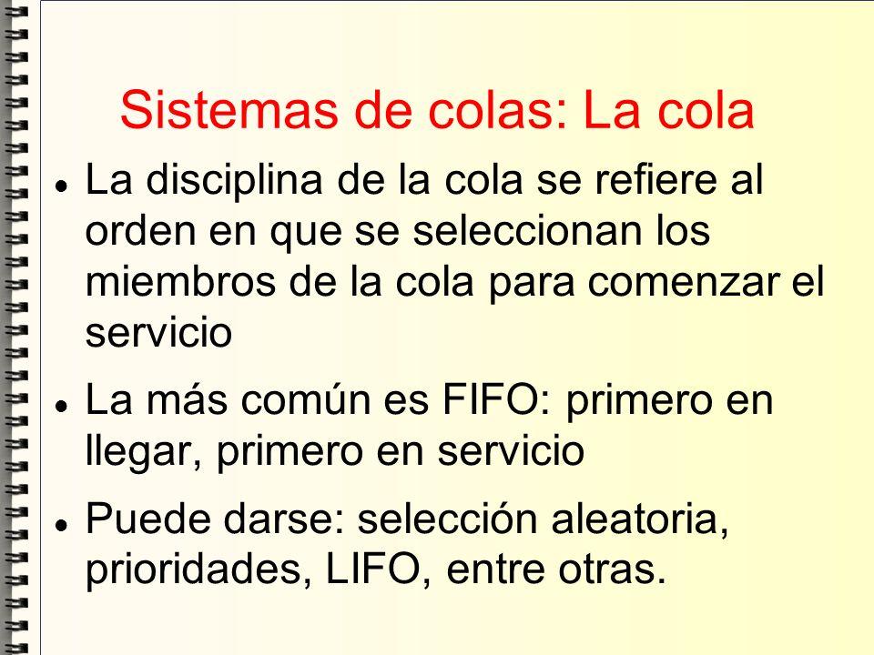 Sistemas de colas: La cola La disciplina de la cola se refiere al orden en que se seleccionan los miembros de la cola para comenzar el servicio La más