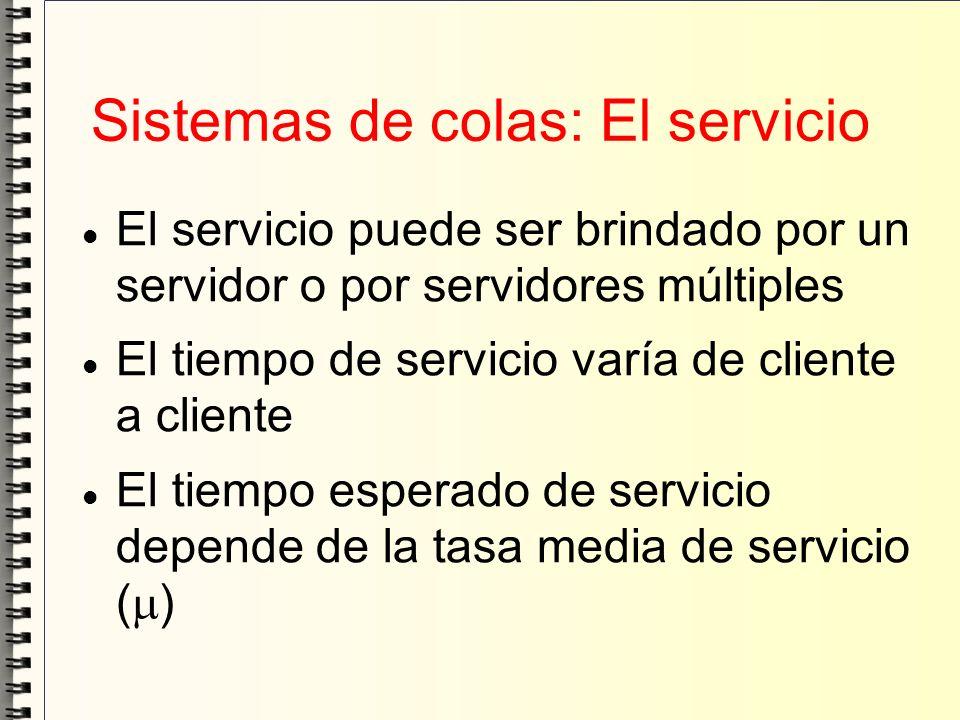 Sistemas de colas: El servicio El servicio puede ser brindado por un servidor o por servidores múltiples El tiempo de servicio varía de cliente a clie