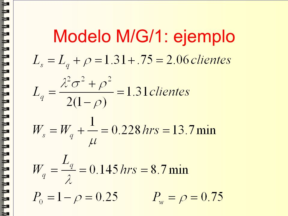 Modelo M/G/1: ejemplo