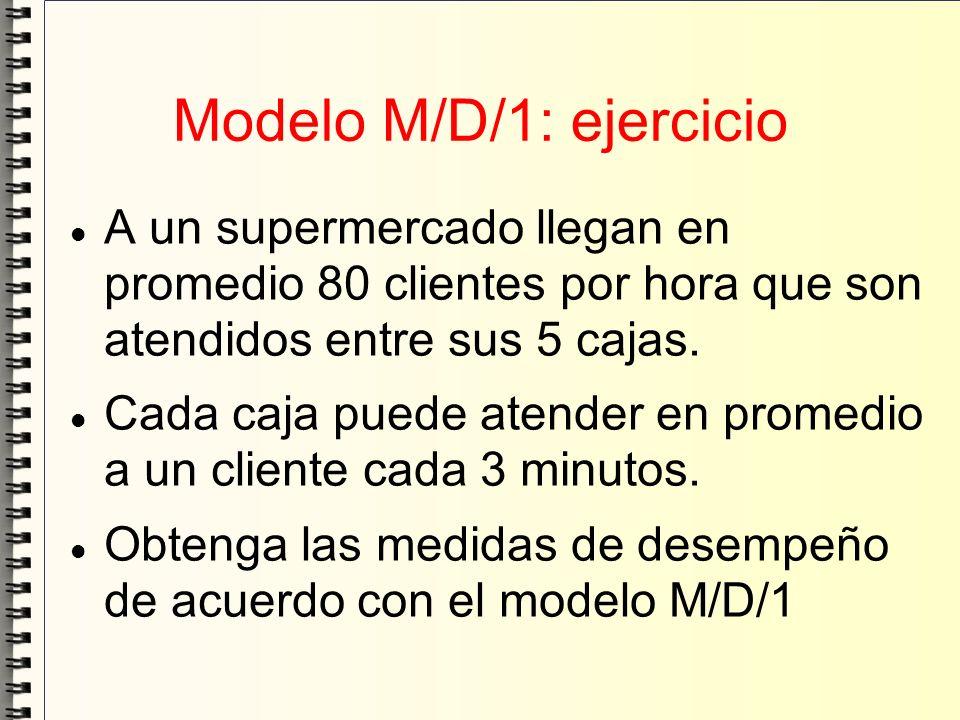 Modelo M/D/1: ejercicio A un supermercado llegan en promedio 80 clientes por hora que son atendidos entre sus 5 cajas. Cada caja puede atender en prom
