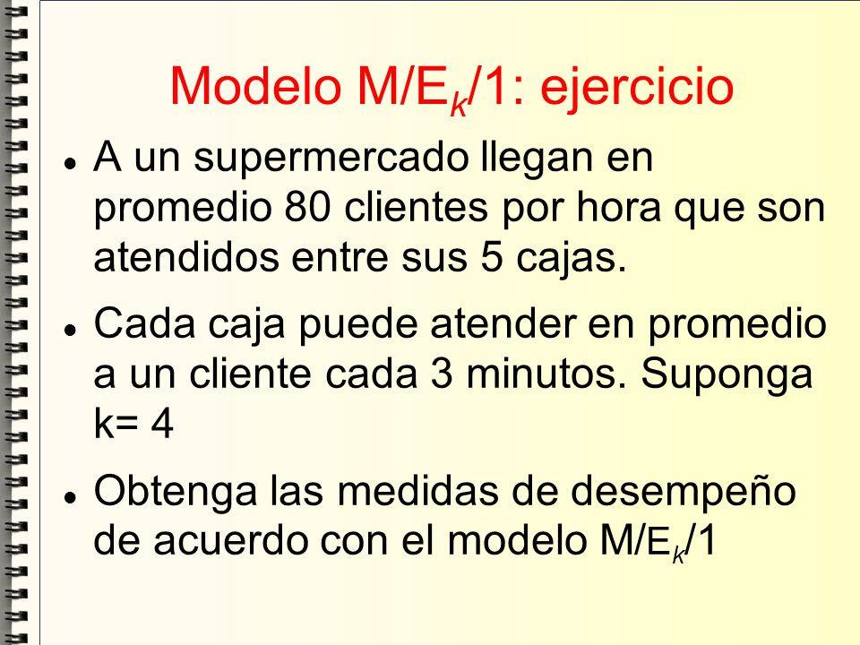 Modelo M/E k /1: ejercicio A un supermercado llegan en promedio 80 clientes por hora que son atendidos entre sus 5 cajas. Cada caja puede atender en p