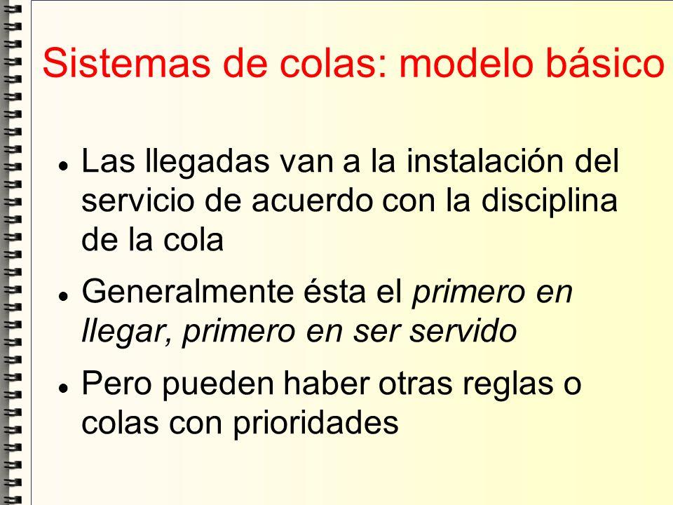 Sistemas de colas: modelo básico Las llegadas van a la instalación del servicio de acuerdo con la disciplina de la cola Generalmente ésta el primero e