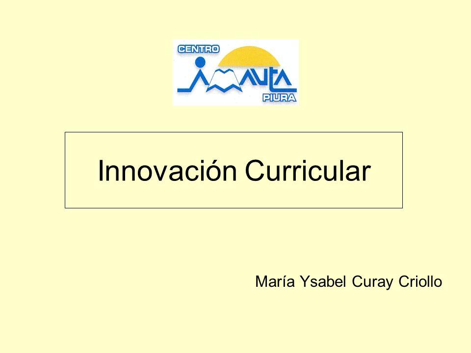 INNOVACION EDUCATIVAEN EDUCACION Organizativo Administrativa Curricular Principios, modelos de construcción curricular Contenidos-organización y selección Competencias, capacidades Criterios y modelos de evaluación Metodología