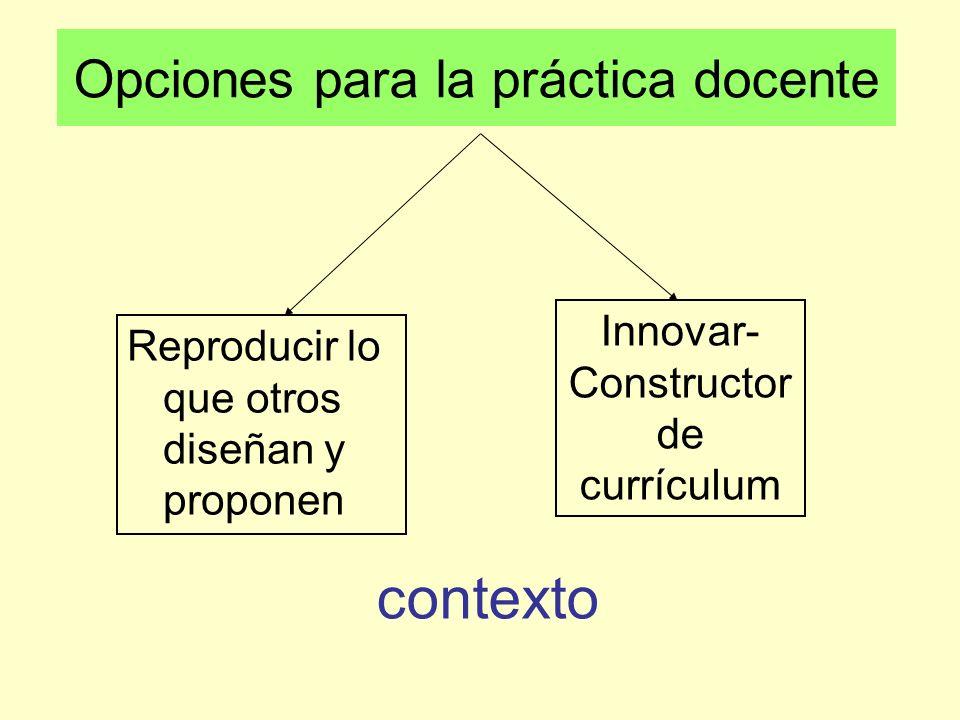 Opciones para la práctica docente Reproducir lo que otros diseñan y proponen Innovar- Constructor de currículum contexto