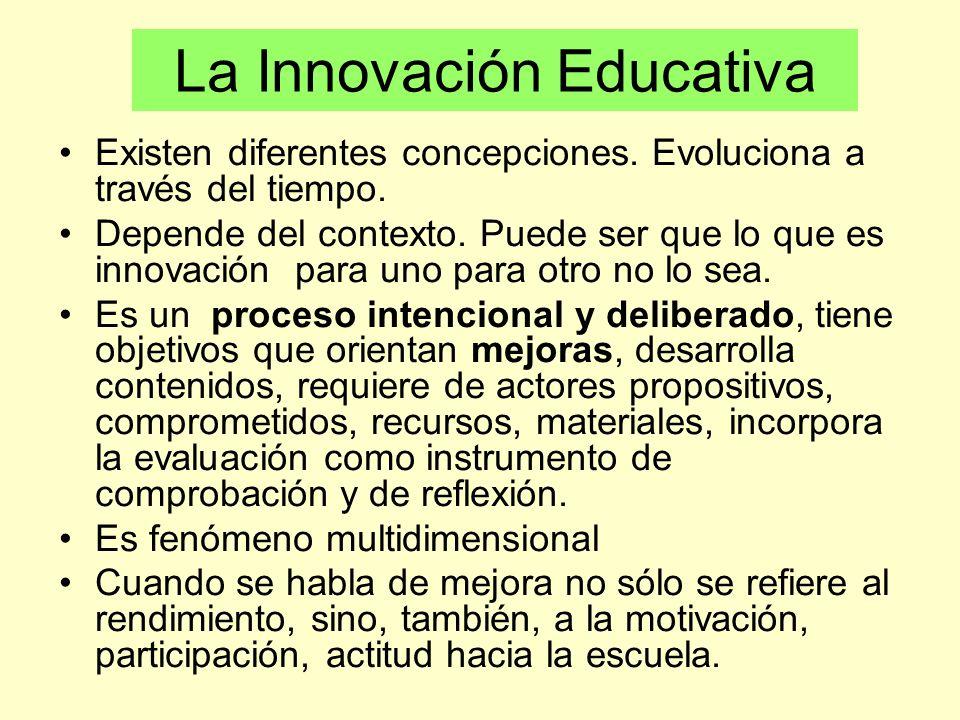 La Innovación Educativa Existen diferentes concepciones. Evoluciona a través del tiempo. Depende del contexto. Puede ser que lo que es innovación para