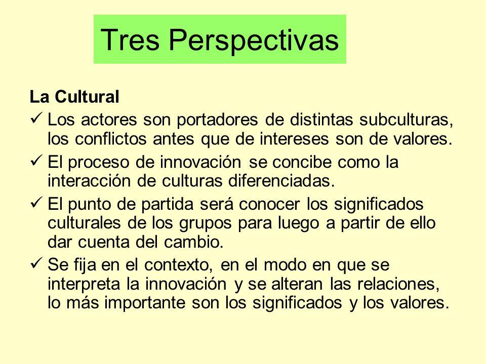 La Cultural Los actores son portadores de distintas subculturas, los conflictos antes que de intereses son de valores. El proceso de innovación se con
