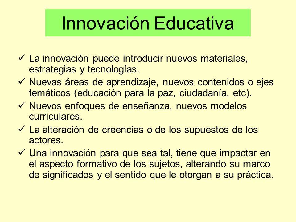 Innovación Educativa Implica por tanto: Aprendizaje de nuevos conceptos, enfoques (saber) Aprendizaje de nuevas prácticas o conductas (hacer) Cambios en sus creencias, actitudes y valores (ser) Permanencia en el tiempo Dos ámbitos el subjetivo y el objetivo