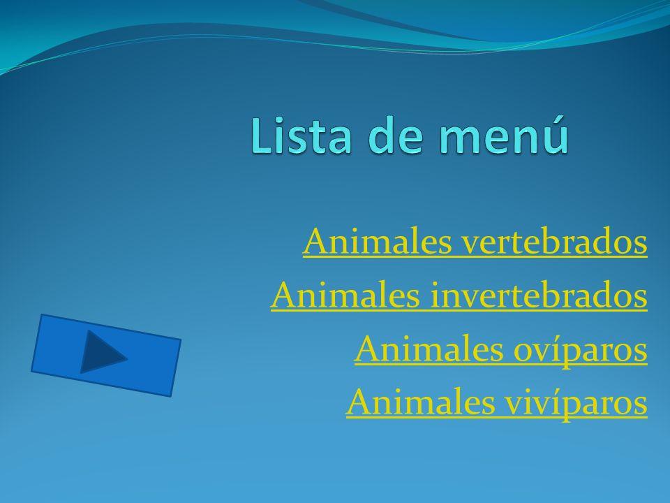 Animales vertebrados Animales invertebrados Animales ovíparos Animales vivíparos