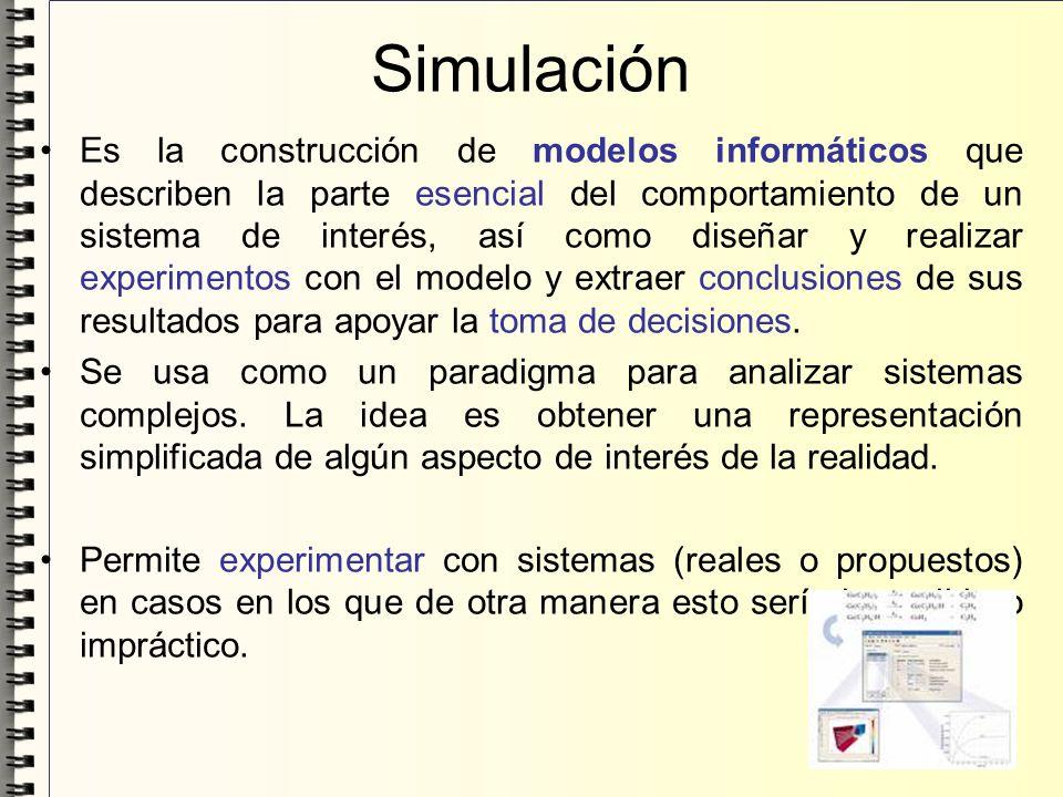 Simulación Es la construcción de modelos informáticos que describen la parte esencial del comportamiento de un sistema de interés, así como diseñar y