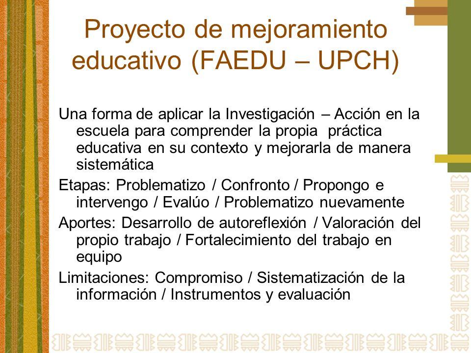 Proyecto de mejoramiento educativo (FAEDU – UPCH) Una forma de aplicar la Investigación – Acción en la escuela para comprender la propia práctica educativa en su contexto y mejorarla de manera sistemática Etapas: Problematizo / Confronto / Propongo e intervengo / Evalúo / Problematizo nuevamente Aportes: Desarrollo de autoreflexión / Valoración del propio trabajo / Fortalecimiento del trabajo en equipo Limitaciones: Compromiso / Sistematización de la información / Instrumentos y evaluación