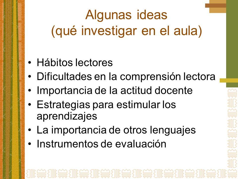 Algunas ideas (qué investigar en el aula) Hábitos lectores Dificultades en la comprensión lectora Importancia de la actitud docente Estrategias para estimular los aprendizajes La importancia de otros lenguajes Instrumentos de evaluación