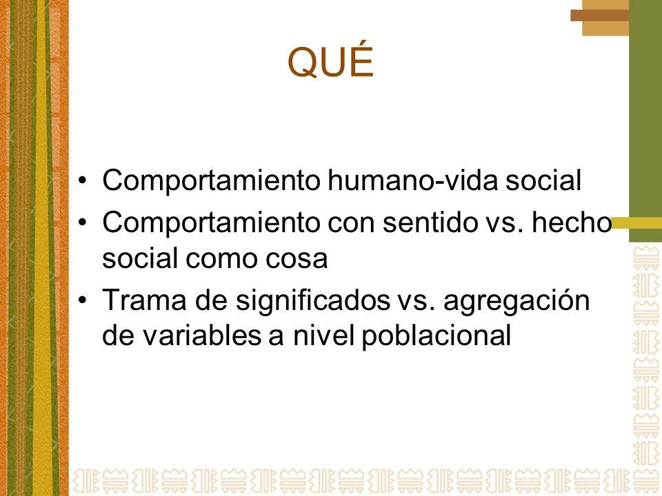QUÉ Comportamiento humano-vida social Comportamiento con sentido vs. hecho social como cosa Trama de significados vs. agregación de variables a nivel
