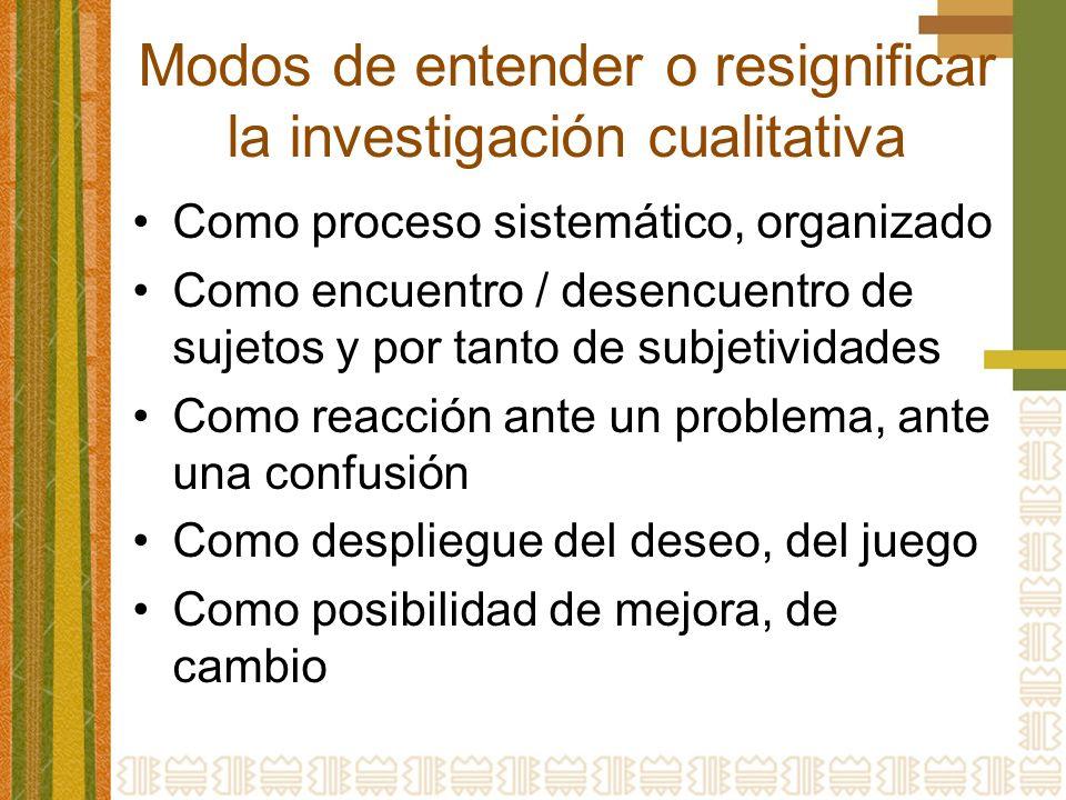 Modos de entender o resignificar la investigación cualitativa Como proceso sistemático, organizado Como encuentro / desencuentro de sujetos y por tant