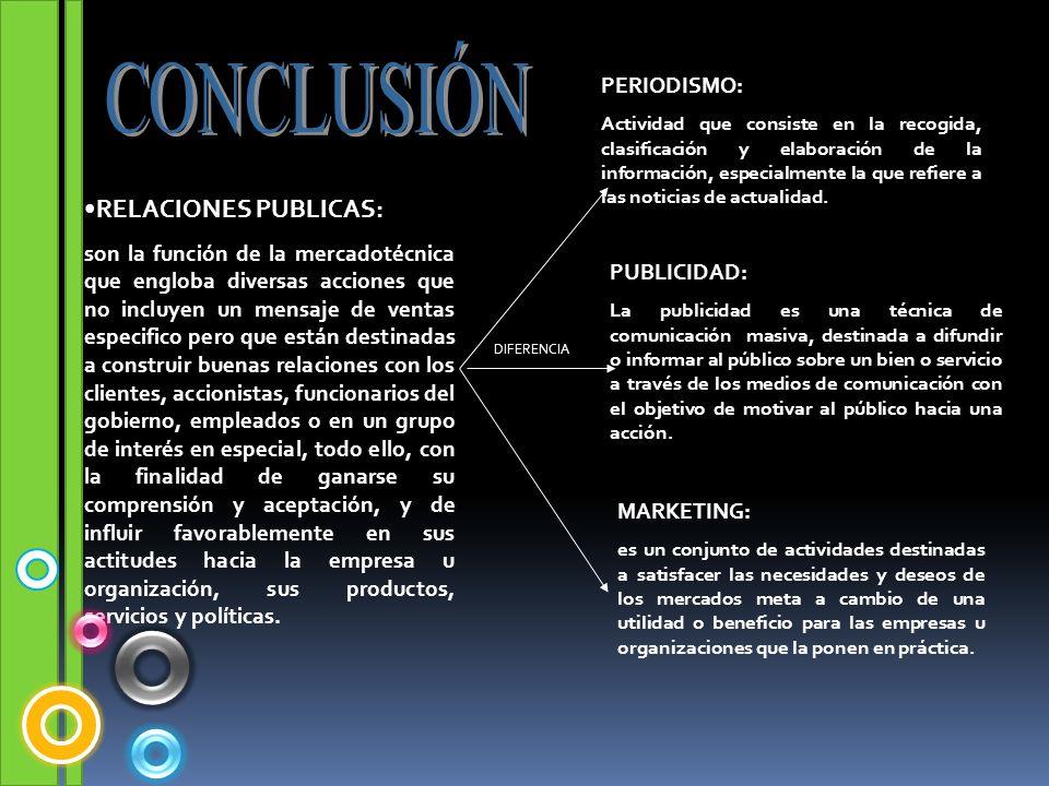 RELACIONES PUBLICAS: son la función de la mercadotécnica que engloba diversas acciones que no incluyen un mensaje de ventas especifico pero que están