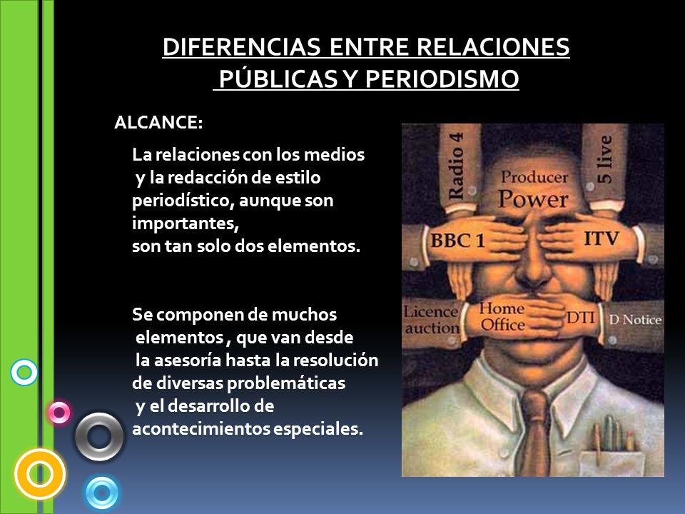 DIFERENCIAS ENTRE RELACIONES PÚBLICAS Y PERIODISMO ALCANCE: La relaciones con los medios y la redacción de estilo periodístico, aunque son importantes