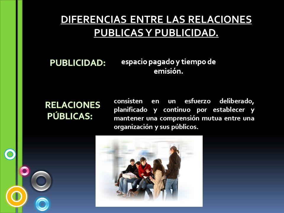 DIFERENCIAS ENTRE LAS RELACIONES PUBLICAS Y PUBLICIDAD. espacio pagado y tiempo de emisión. consisten en un esfuerzo deliberado, planificado y continu