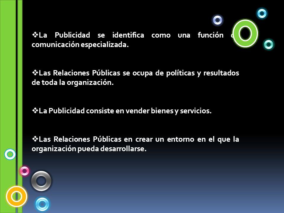 La Publicidad se identifica como una función de comunicación especializada. Las Relaciones Públicas se ocupa de políticas y resultados de toda la orga