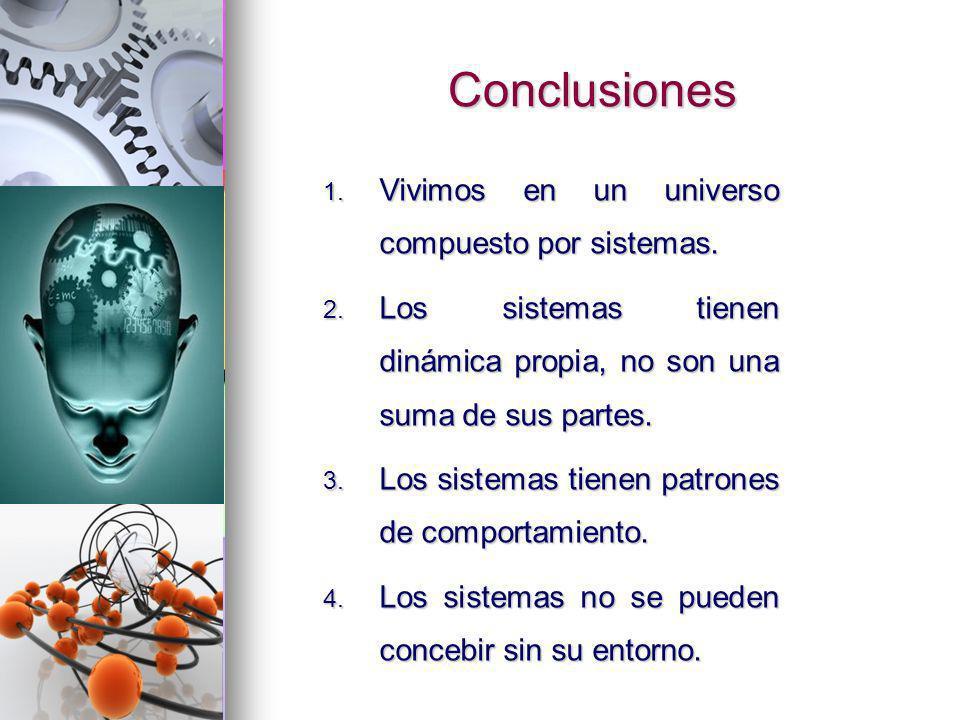 Conclusiones 1. Vivimos en un universo compuesto por sistemas. 2. Los sistemas tienen dinámica propia, no son una suma de sus partes. 3. Los sistemas