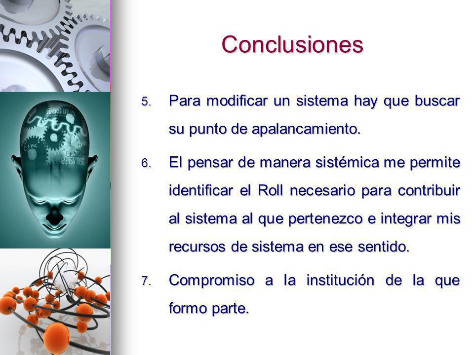 Conclusiones 5. Para modificar un sistema hay que buscar su punto de apalancamiento. 6. El pensar de manera sistémica me permite identificar el Roll n